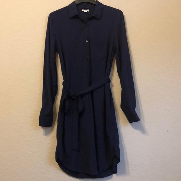 GAP Dresses & Skirts - Gap navy medium shirt dress with belted waist